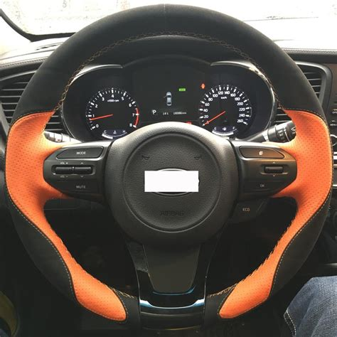black and orange steering wheel cover xuji orange genuine leather black suede steering wheel