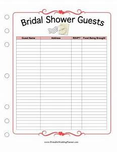 this printable bridal shower guest list provides spaces With wedding shower gift list template