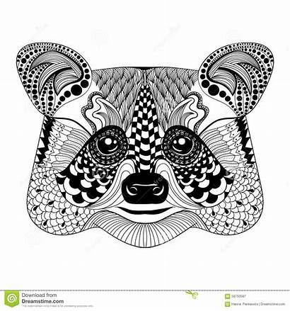 Zentangle Raccoon Doodle Face Tattoo Stylized Animal