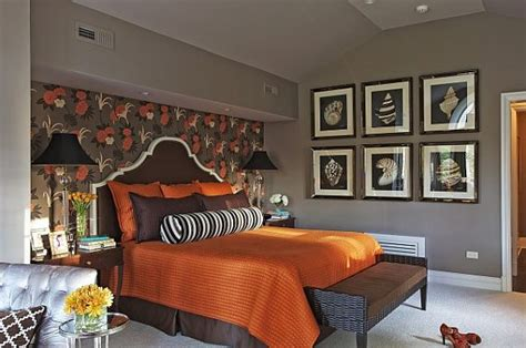 Curtains With Orange Accents by What Colors Work Well With Brown In The Bedroom