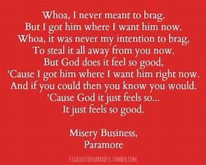 Misery Business Paramore Song Lyrics Pinterest