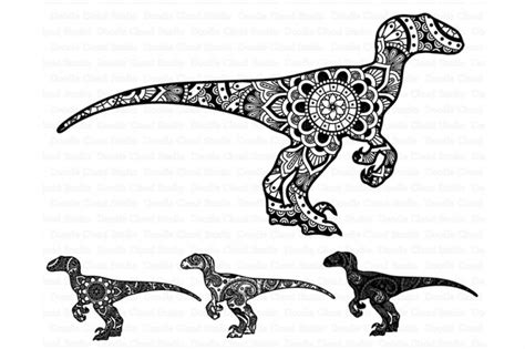mandala dinosaur svg raptor mandala svg  doodle cloud
