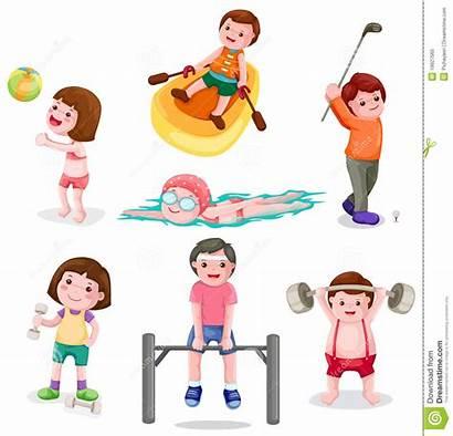 Exercise Activity Physical Clipart Clip Illustration Boys