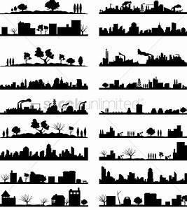 City landscape silhouette collection Vector Image ...