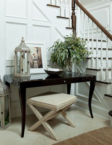 Black X Bench by Beautiful Foyer With Wainscoting Glossy Black Lacquer