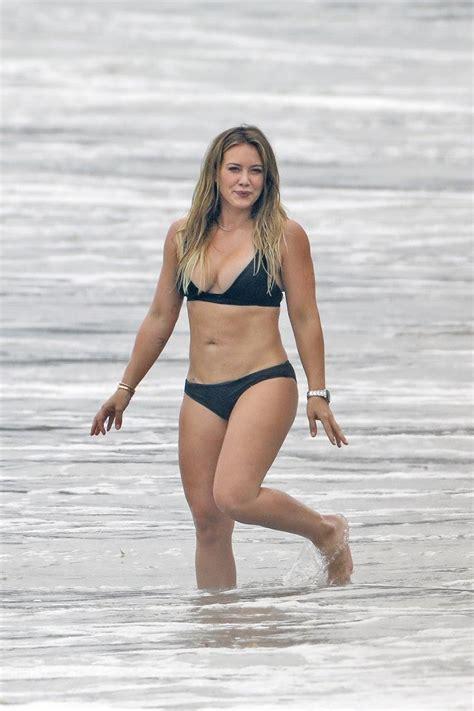 duff hilary bikini beach luca son mega comrie slays enjoying mike ex while