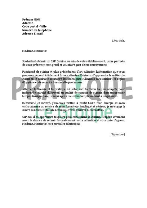 exemple lettre de motivation cuisine modele lettre de motivation cuisinier en collectivite document