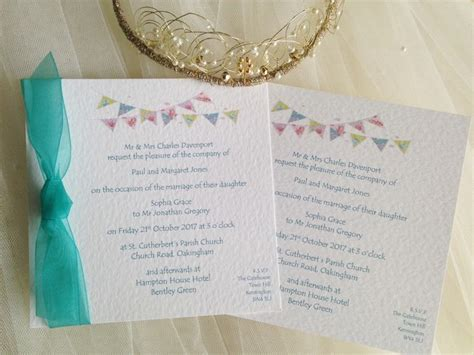 wording on wedding invitations summer bunting wedding stationery 1498