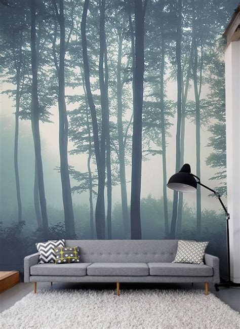 sea  trees forest mural wallpaper   forest mural