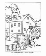 Coloring Pages American Early Colonial America Mill Watermill Printable Sheets Drawing Grist History Colouring Colour Books Worksheets Paper Trades Template sketch template