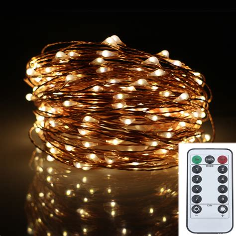 battery operated outdoor string lights 20m 200led 8modes copper wire battery operated led string