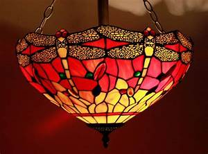 Red yellow inch dragonfly tiffany ceiling light