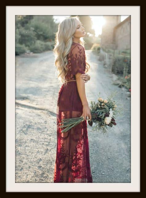 burgundy red deep  lace sheer boho side slit short sleeve