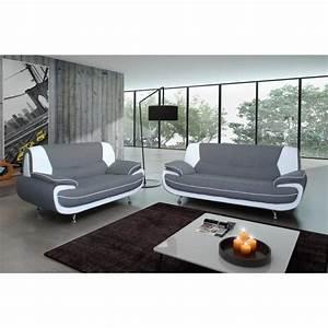 C Discount Canape : ensemble canap 3 places 2 places gris blanc achat vente canap sofa divan cdiscount ~ Teatrodelosmanantiales.com Idées de Décoration