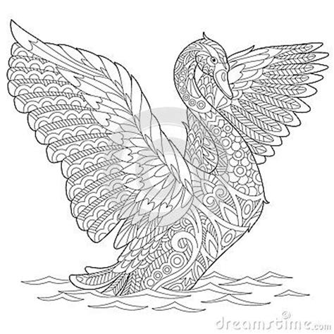 zentangle stylized swan coloring  adults pinterest