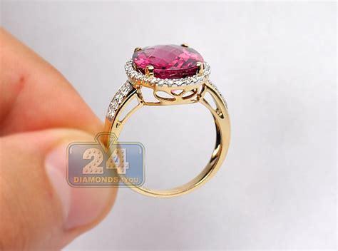 womens pink tourmaline diamond cocktail ring  yellow gold