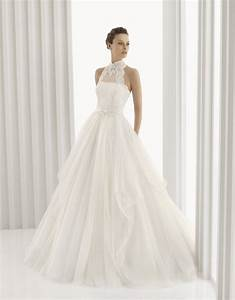 romantic full a line rosa clara bridal gown with high neck With high neckline wedding dresses