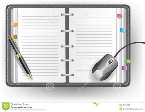 agenda bureau agenda de bureau avec la ligne le stylo bille et la