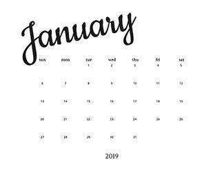 minimalist printable calendar template island