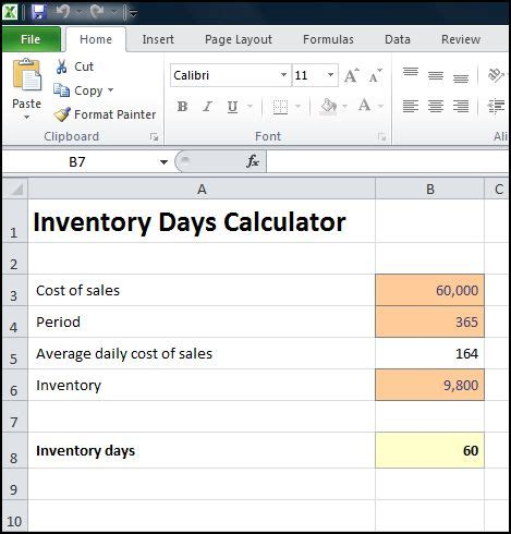 inventory days calculator excel plan projections