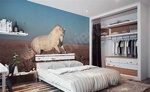Papier Peint Chambre À Coucher : papiers peints chevaux mur aux dimensions ~ Nature-et-papiers.com Idées de Décoration