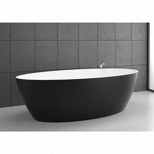 Robinet Baignoire Ilot : baignoire ilot solid surface space 155 noir graphite ~ Nature-et-papiers.com Idées de Décoration