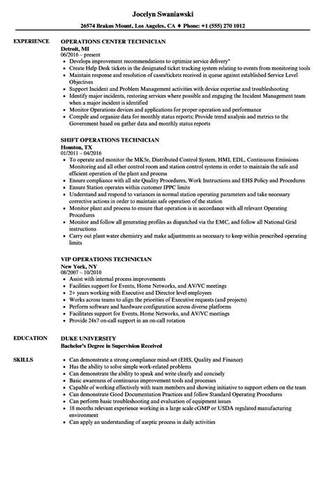 technician operations resume sles velvet