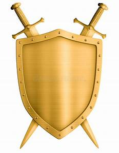 Gold Medieval Knight Shield And Crossed Swords Isolated ...