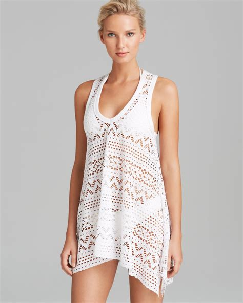 white swimsuit cover up lyst robin piccone penelope crochet dress swim cover up