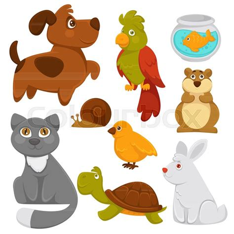 cartoon pets domestic animals vector flat icons isolated