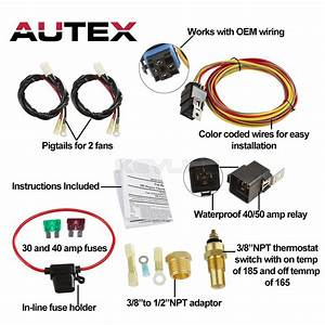 Dual Electric Cooling Fan Wiring Install Kit 165    185