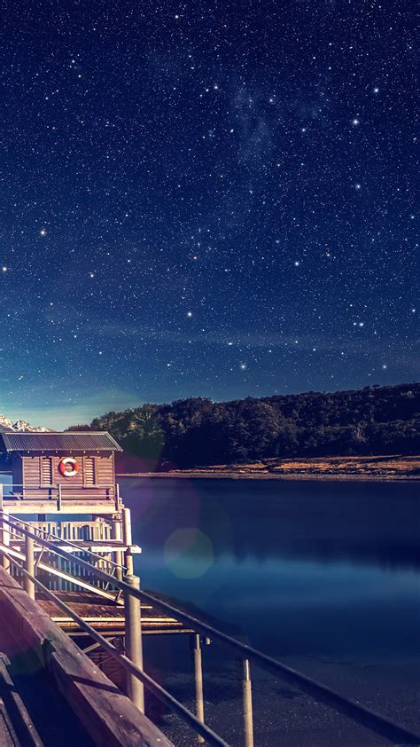 mm star shiny lake blue sky space boat flare wallpaper