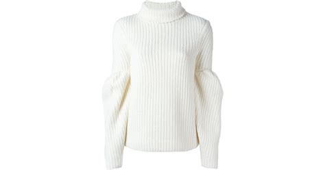 Victoria Beckham Puff Longsleeved Chunky Sweater In White