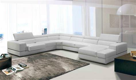 divani casa pella modern white bonded leather sectional sofa