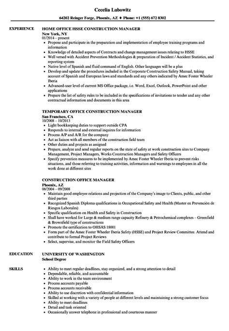 sample resume for office manager position construction office manager resume samples velvet jobs