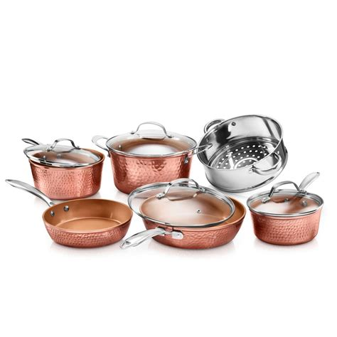 gotham steel hammered copper  piece  stick ti ceramic cookware set  lids
