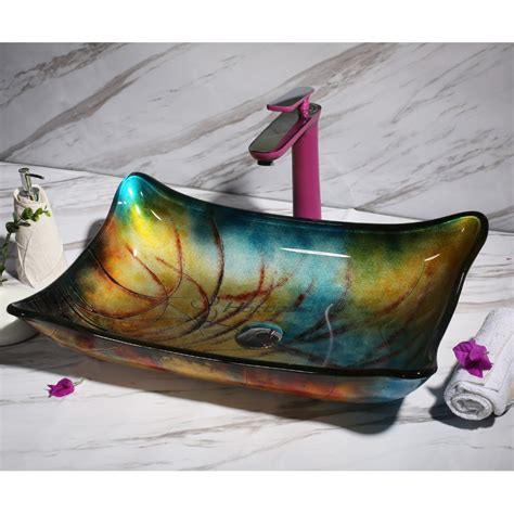 decorative multi color rectangular vessel sink  mount