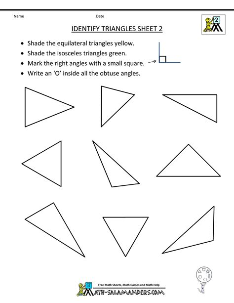 the gallery for gt types of triangles worksheet