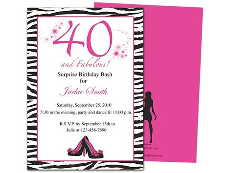 Fabulous 40th Birthday Party Invitation Template