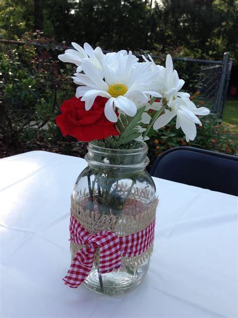 flower arrangement   mason jar white daisies  red