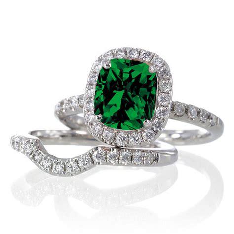 carat unique emerald  diamond bridal ring set