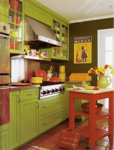 red  green kitchen home home pinterest