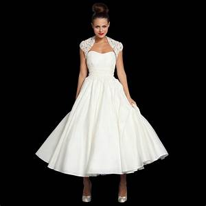 jenna tea length vintage style wedding dress lace bolero With tea length wedding dresses