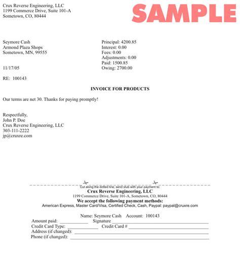 sample cover letter  sending invoice
