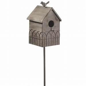 Functional Metal Fence Bird House Yard Art Garden Stake