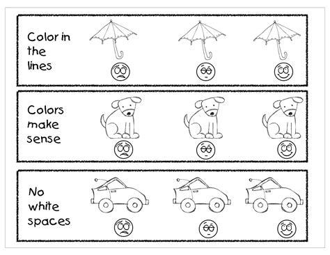 pre  rubric kindergarten night owls coloring