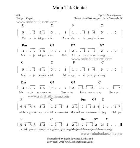 not angka lagu maju tak gentar c simanjuntak berikut lirik chord sahabatku seni