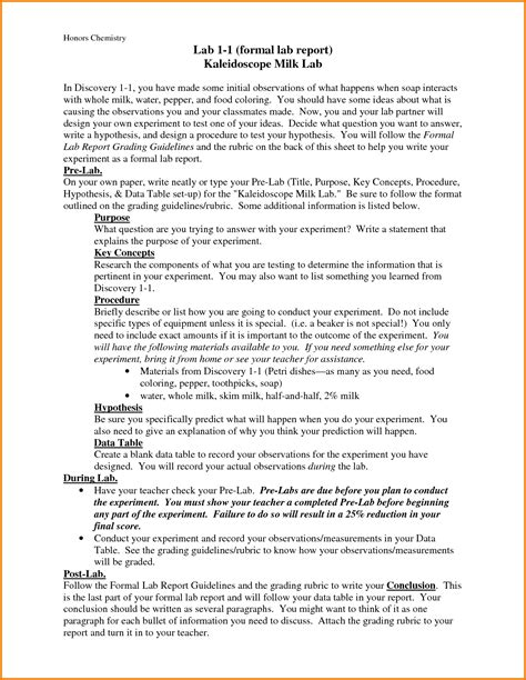chemistry lab report template report writing outline format