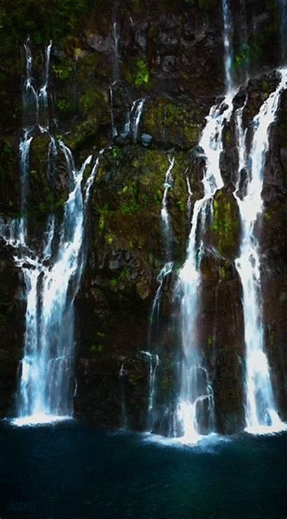 Waterfall Reunion Cascade Island Paysage Eau Un