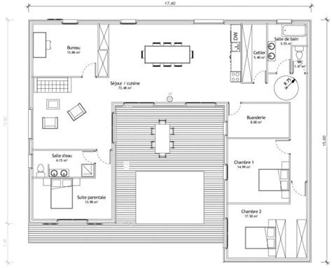 maison en u avec patio plans maisons patios plans maison et plans